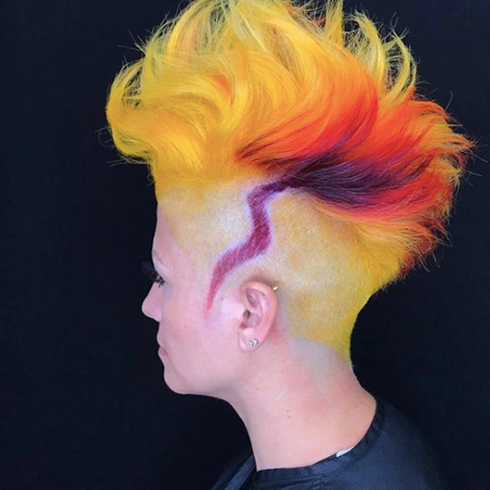 festival hairstyles colorful high and tight