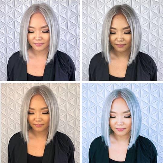 silver hair color app transformation