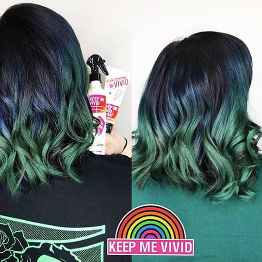 ombre hair black and green