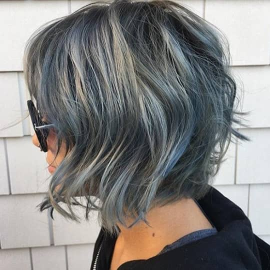 photo of hair with silver highlights