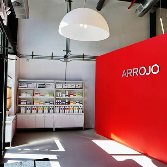 arrojo salon products and entryway