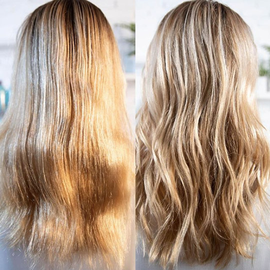 blonde damaged hair before and after