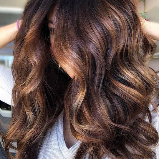 photo of woman with chocolate brown hair and honey highlights