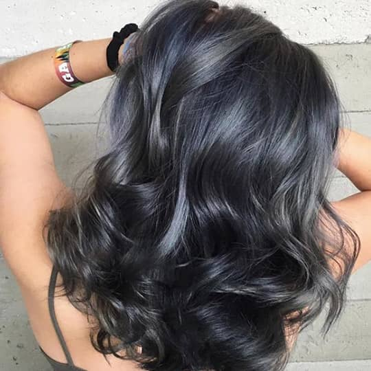 photo of dark silver hair color