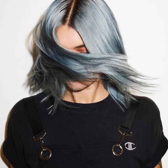metallic hair color pastel blue