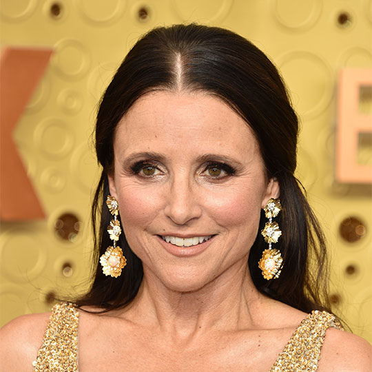 julia louis-dreyfus with red carpet hair products