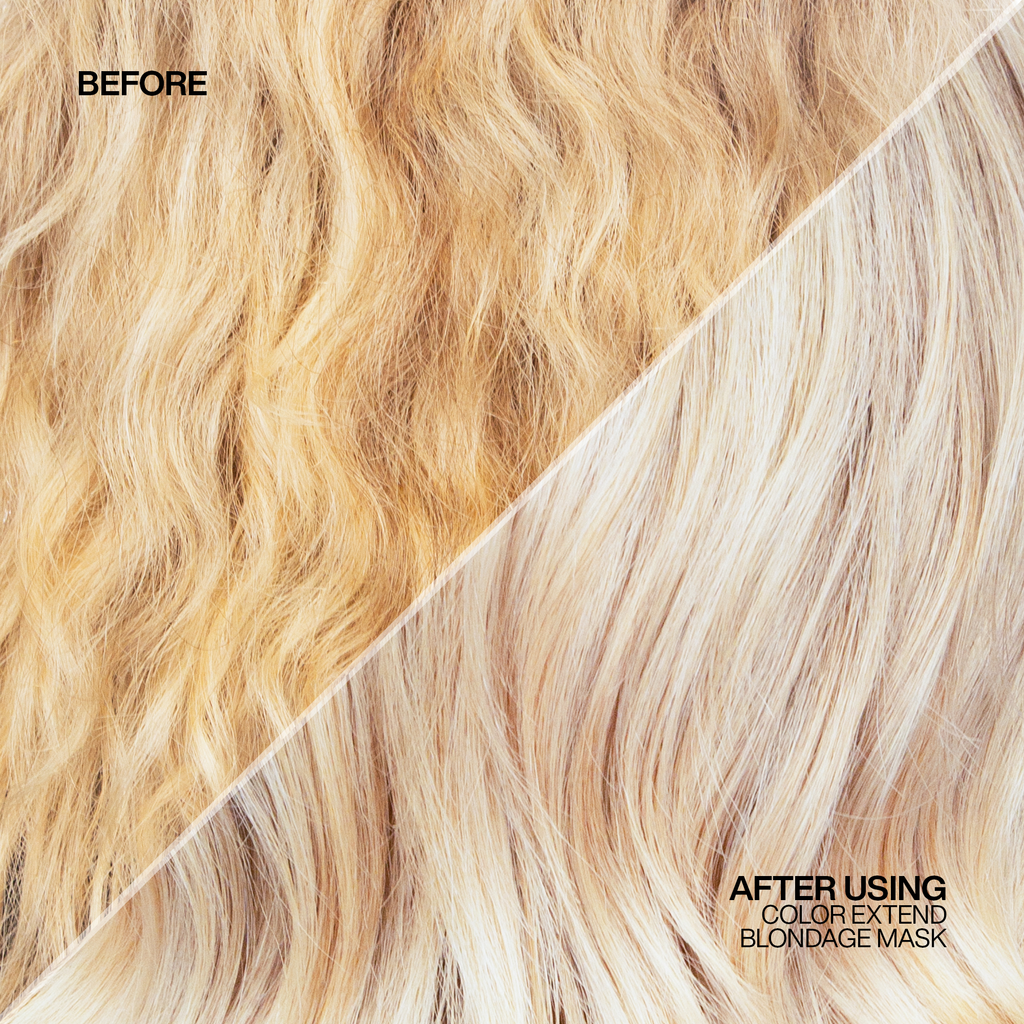 A woman's blonde hair before and after using Redken Color Extend Blondage Purple Shampoo