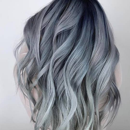 photo of woman with gray blue smoky hair color