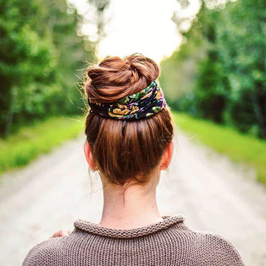 top knot with a scarf wrapped