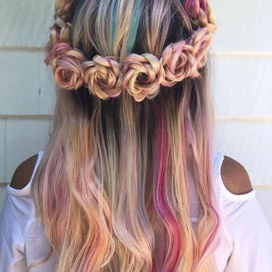 half up rosette flower crown