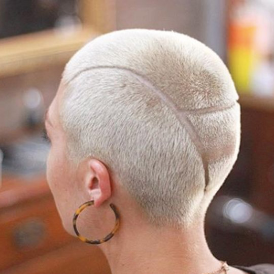 Androgynous buzz cut with design