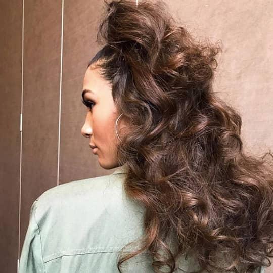 half up wavy ponytail