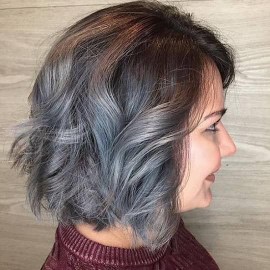 photo of silver ombre with dark roots