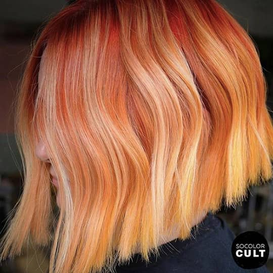 ombre hair bright red and ginger