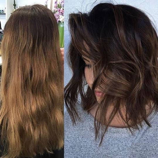 woman with lob hairstyle to look younger