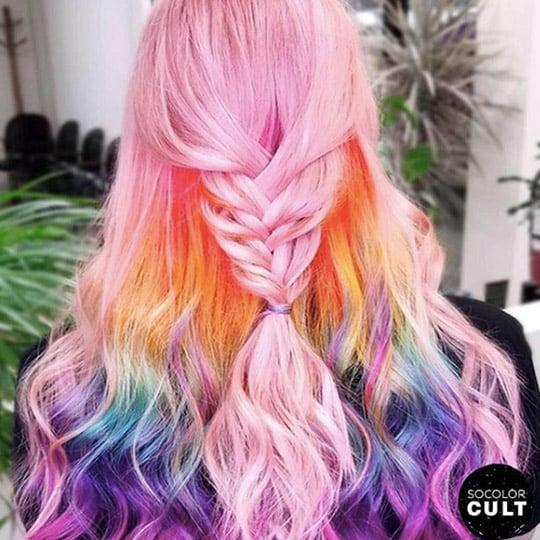 festival hairstyles rainbow fishtail