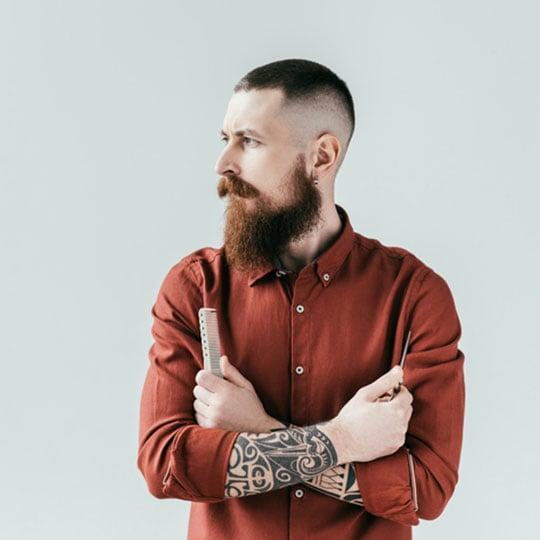 photo of lumberjack buzz cut with beard