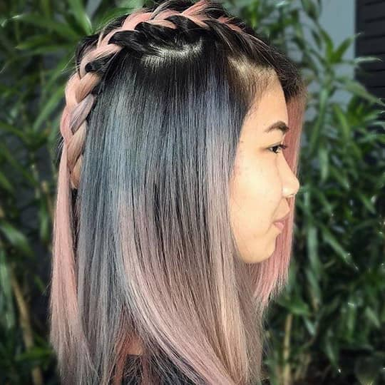 photo of gray to pink ombre hair color