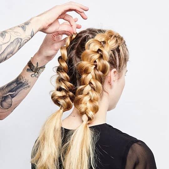 double dutch braid ponytails