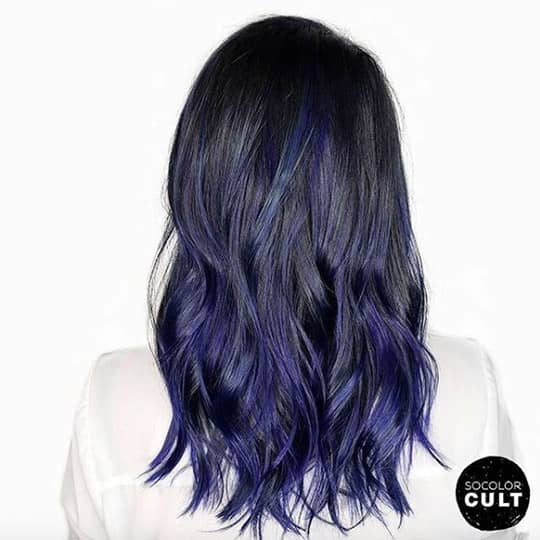 ombre hair black and navy