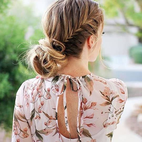 brunette with chic chignon hairstyle for work