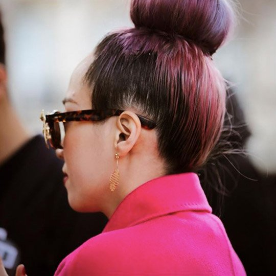 photo of donut bun hairstyle