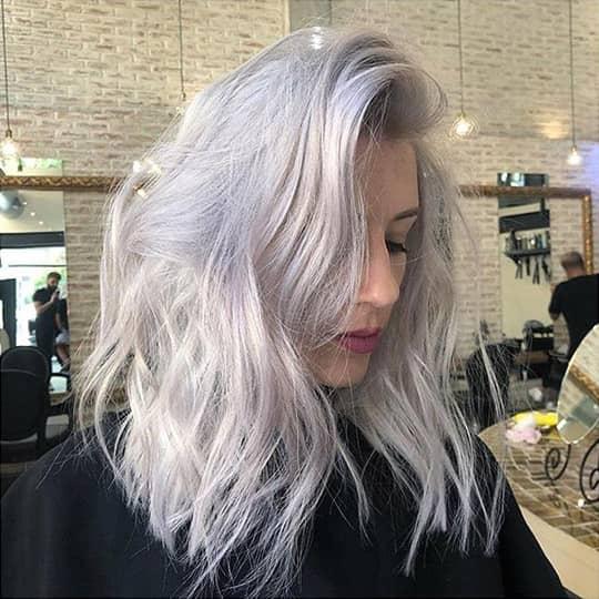 woman with titanium hair color