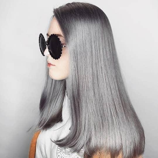 metallic hair color gunmetal