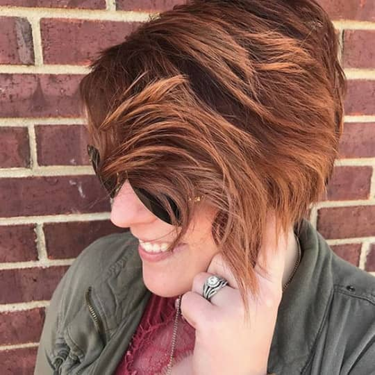 woman with a stacked bob hairstyle