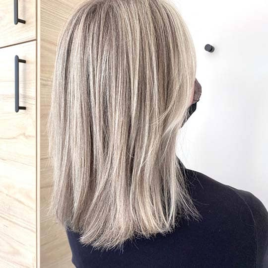 photo of light ash hair color using redken shades eq