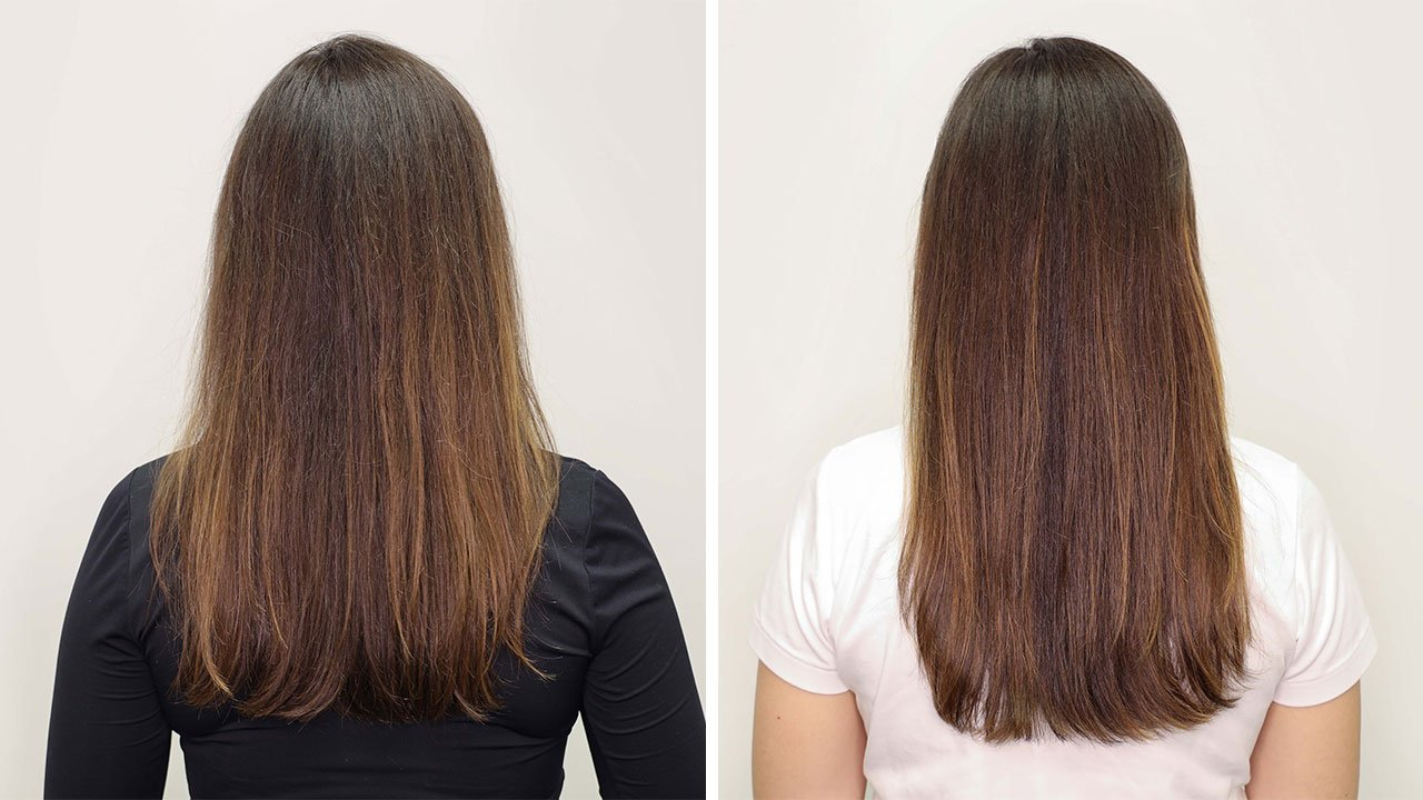 before and after of brunette using absolut repair masque
