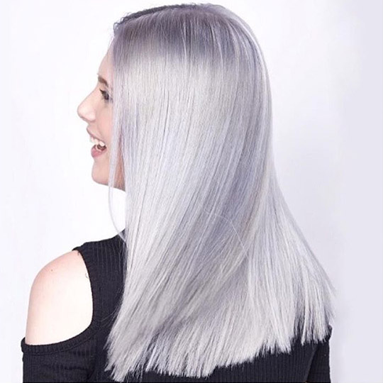 woman with titanium hair color
