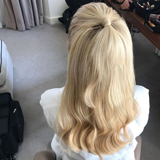 photo of half up hairstyle