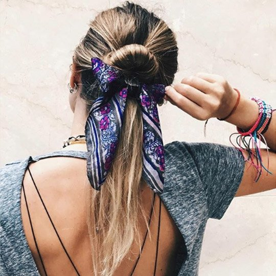 festival hairstyles scarf wrapped ponytail