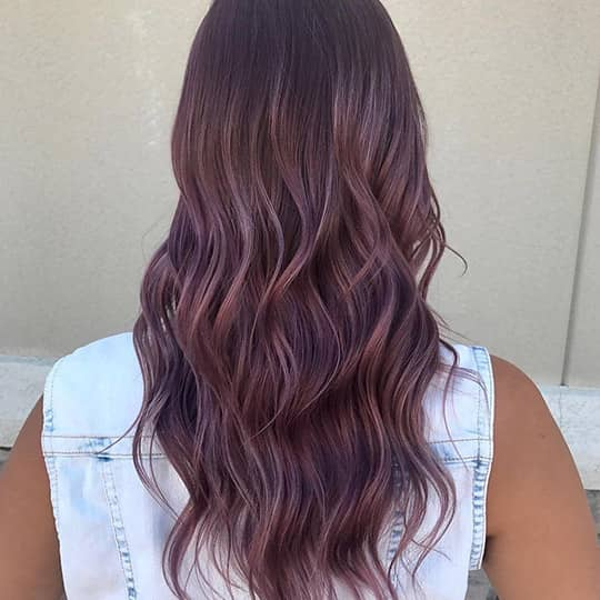 photo of woman with berry smoky hair color