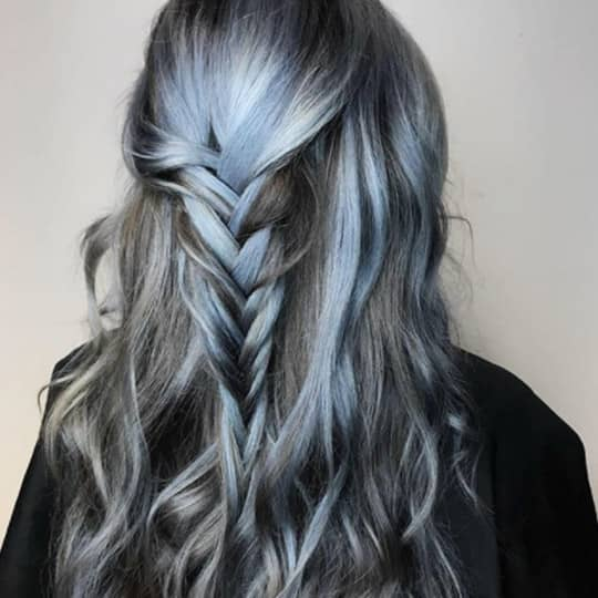 photo of steel blue and gray balayage