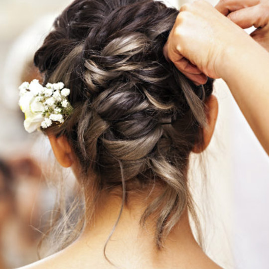 woman with a braided updo