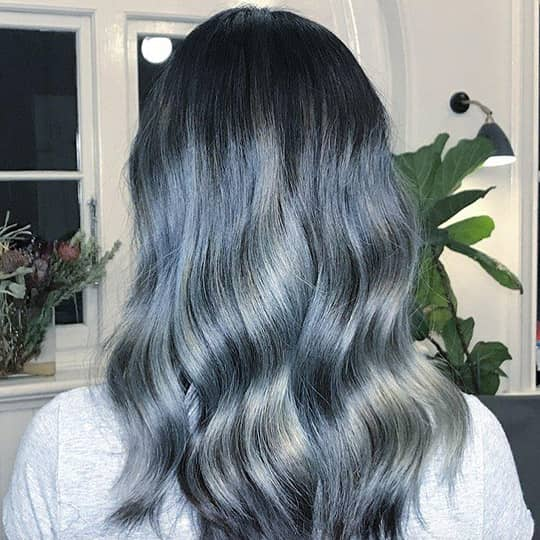 photo of blue silver hair color