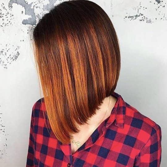 photo of asymmetrical lob haircut