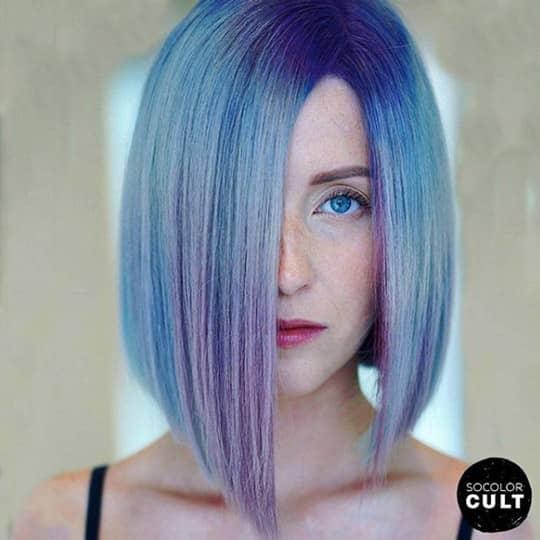 Woman with asymmetrical bob