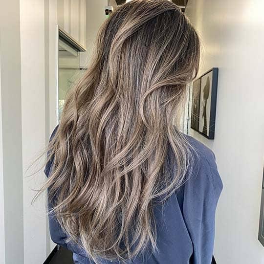 photo of ash bronde hair color using redken shades eq