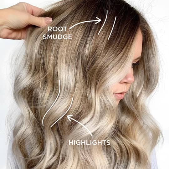 Popular Hair color techniques, root smudge and highlights