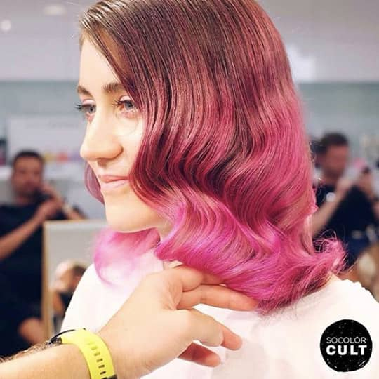ombre hair light brown and hot pink
