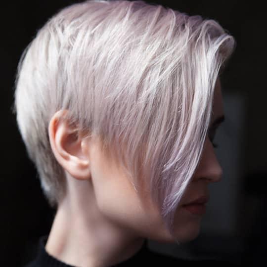 photo of asymmetrical pixie hairstyle