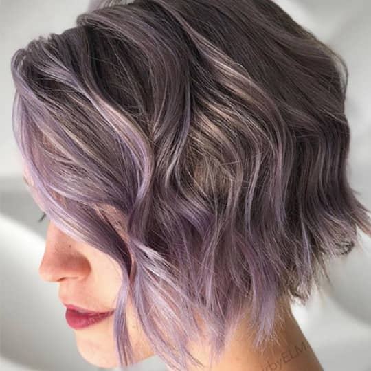 photo of woman with lilac smoky hair color