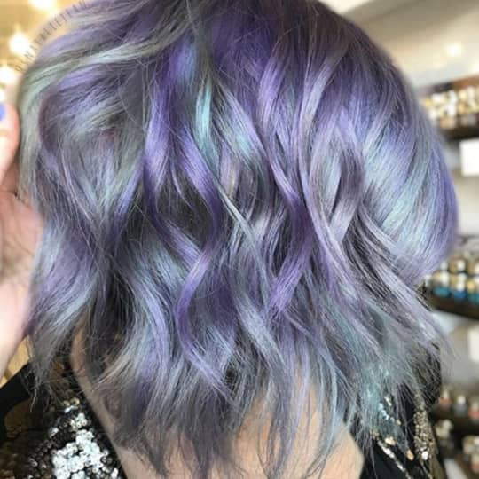photo of gray balayage with lavender