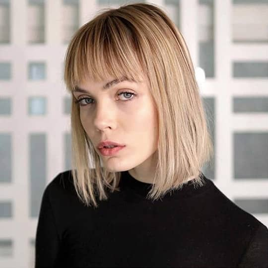 french girl hair blunt bob with bangs
