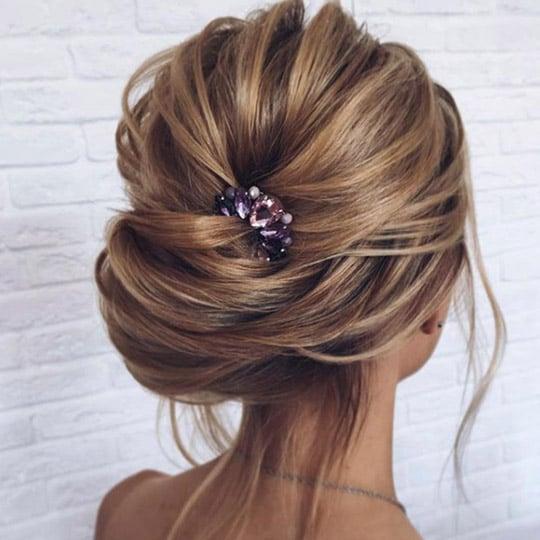 photo of windswept updo hairstyle