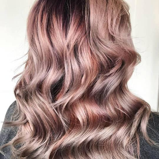 metallic hair color rose gold