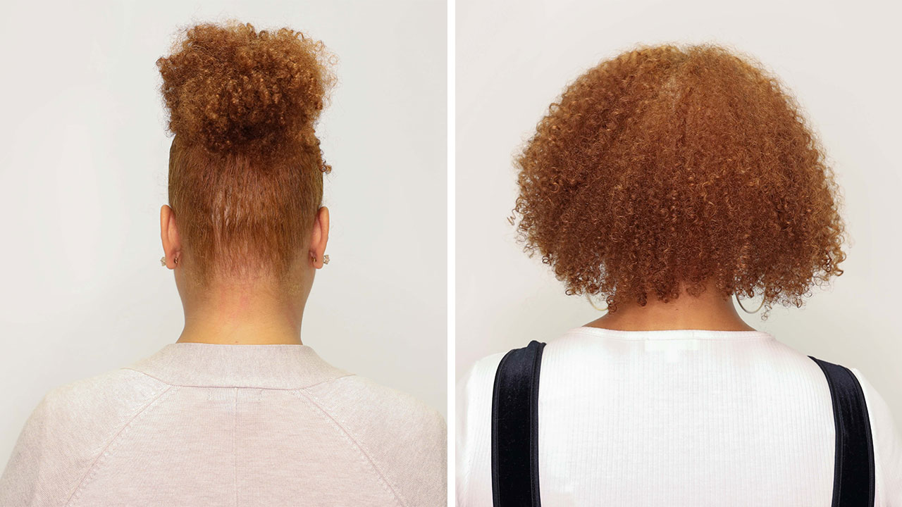 before and after of redhead using absolut repair masque